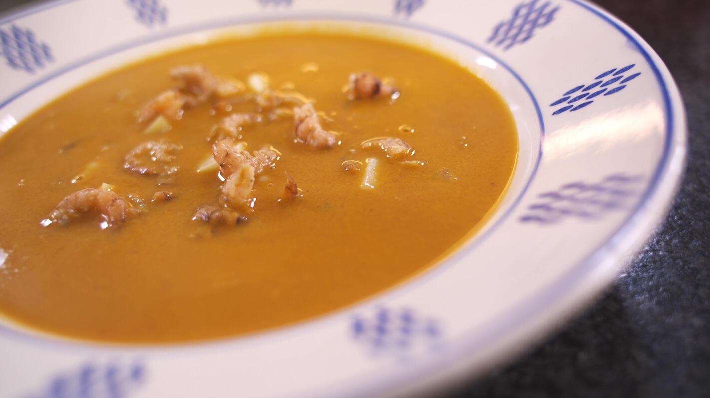 Tomatensoep met garnalen en Rodenbach