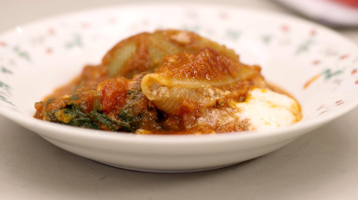 Gevulde pastaschelpen in de oven