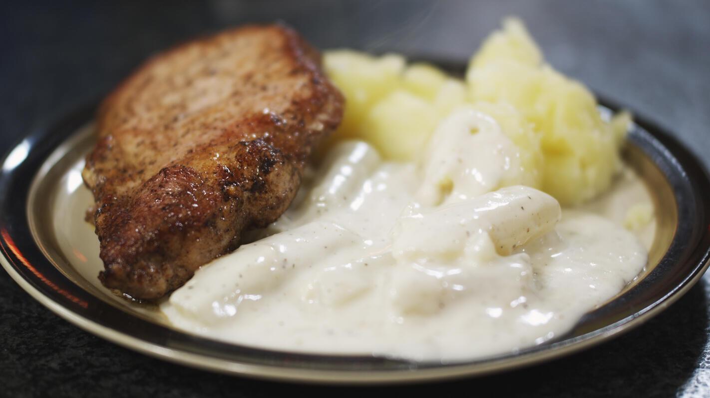 Kotelet met schorseneren in witte saus