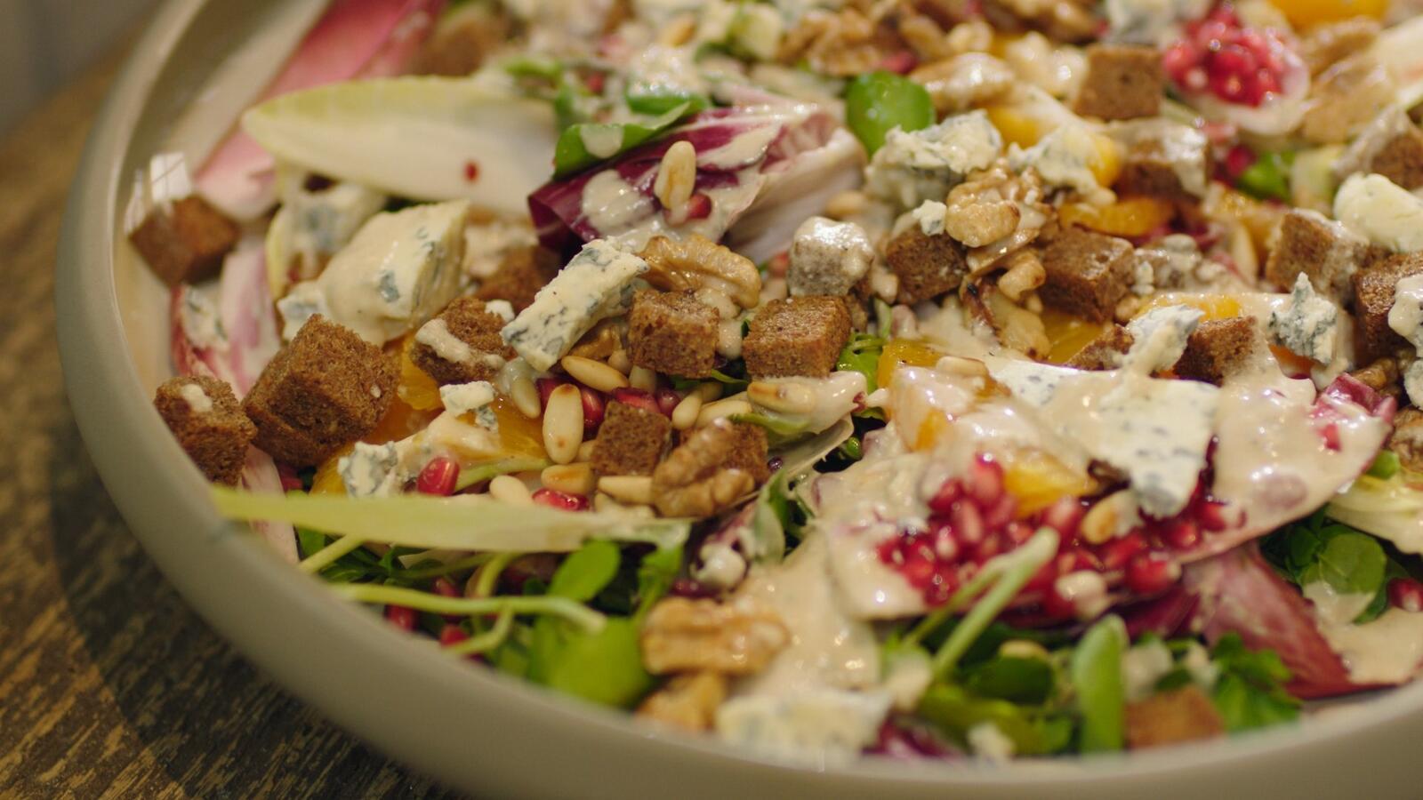 Witloofsalade met blauwe kaas