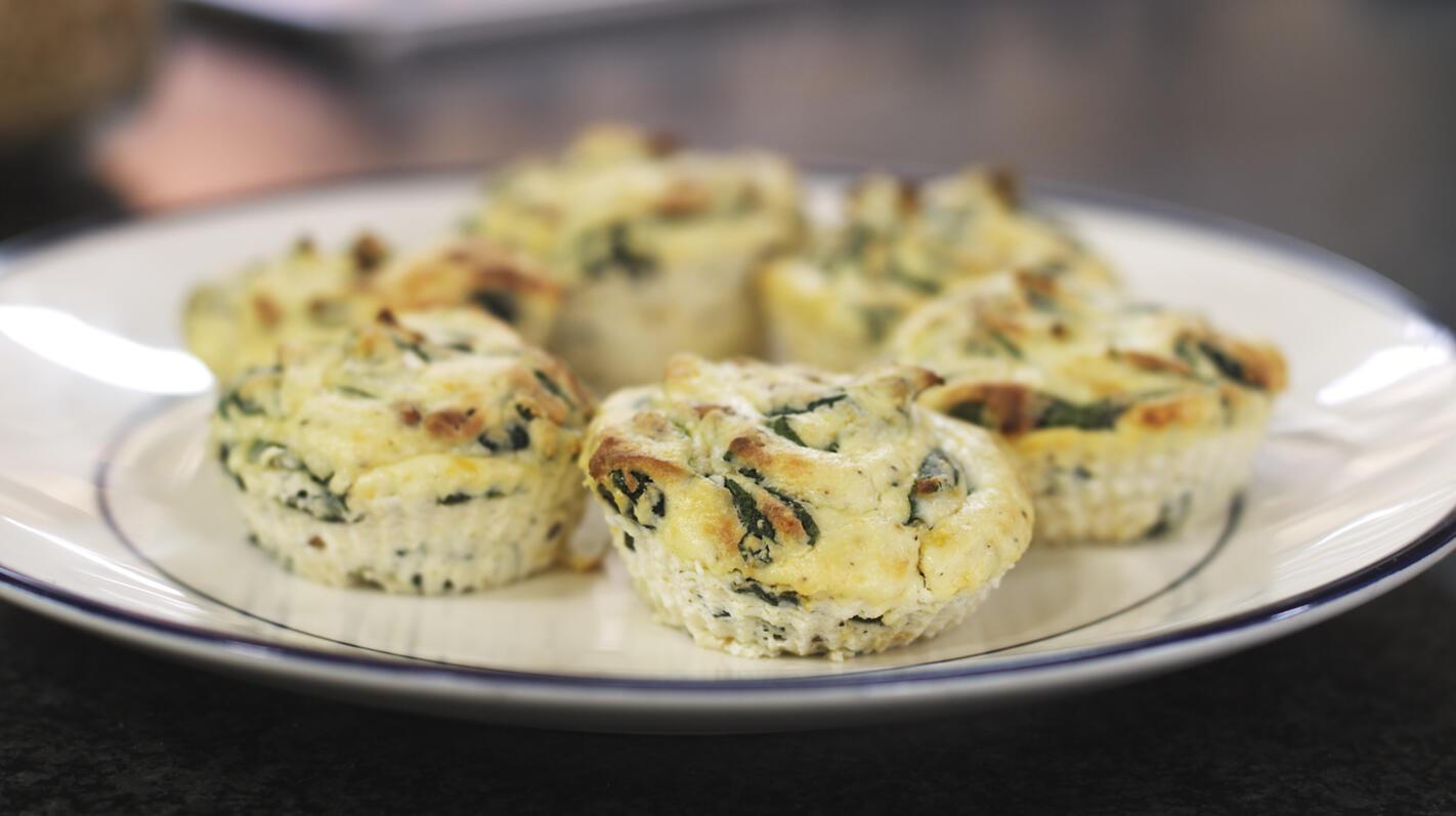 Ricottataartjes met spinazie en wasabi