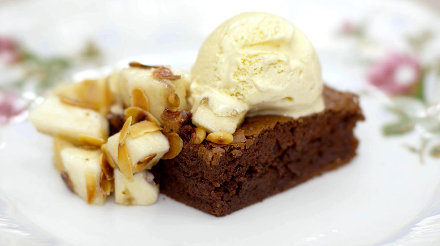 Brownies met banaan en ijs