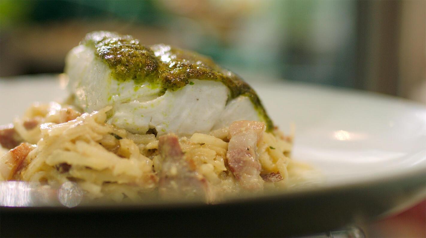 Carbonara van knolselder met vis