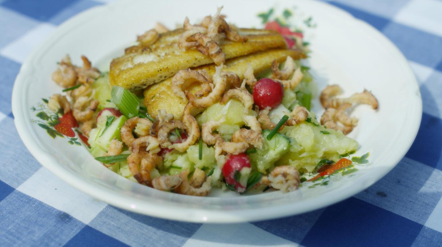 Gebakken tongschar met lauwe aardappelsalade en garnalen