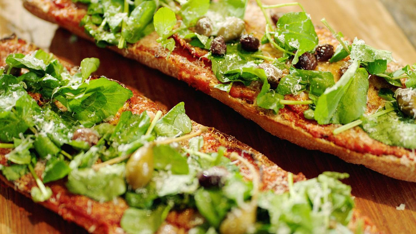 Pizzabaguette met paprika en chorizo