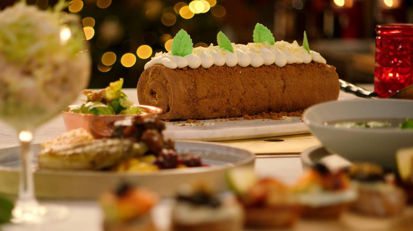 Kerstbûche op basis van speculaas en mascarpone