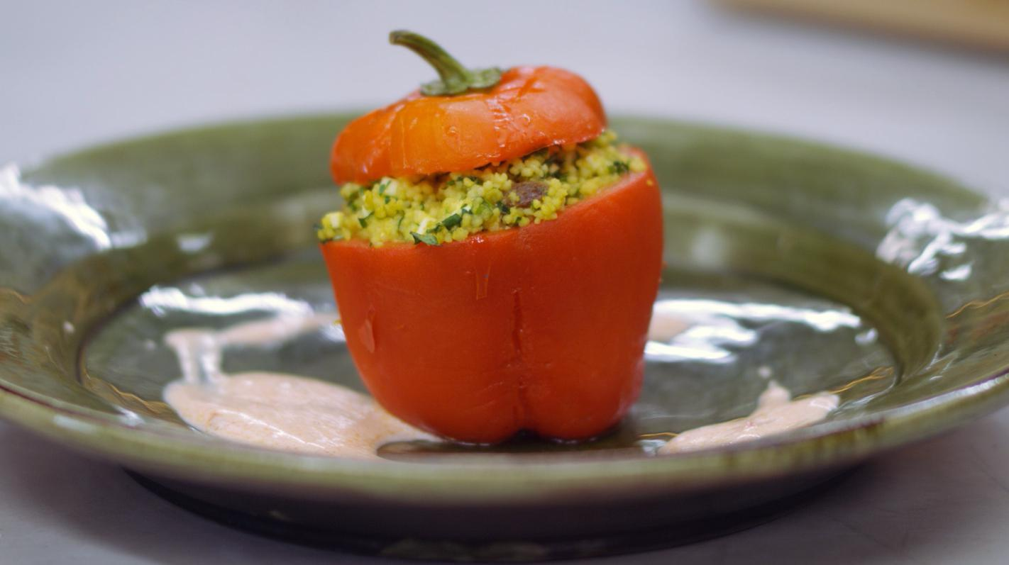 Gevulde paprika's met couscous en feta