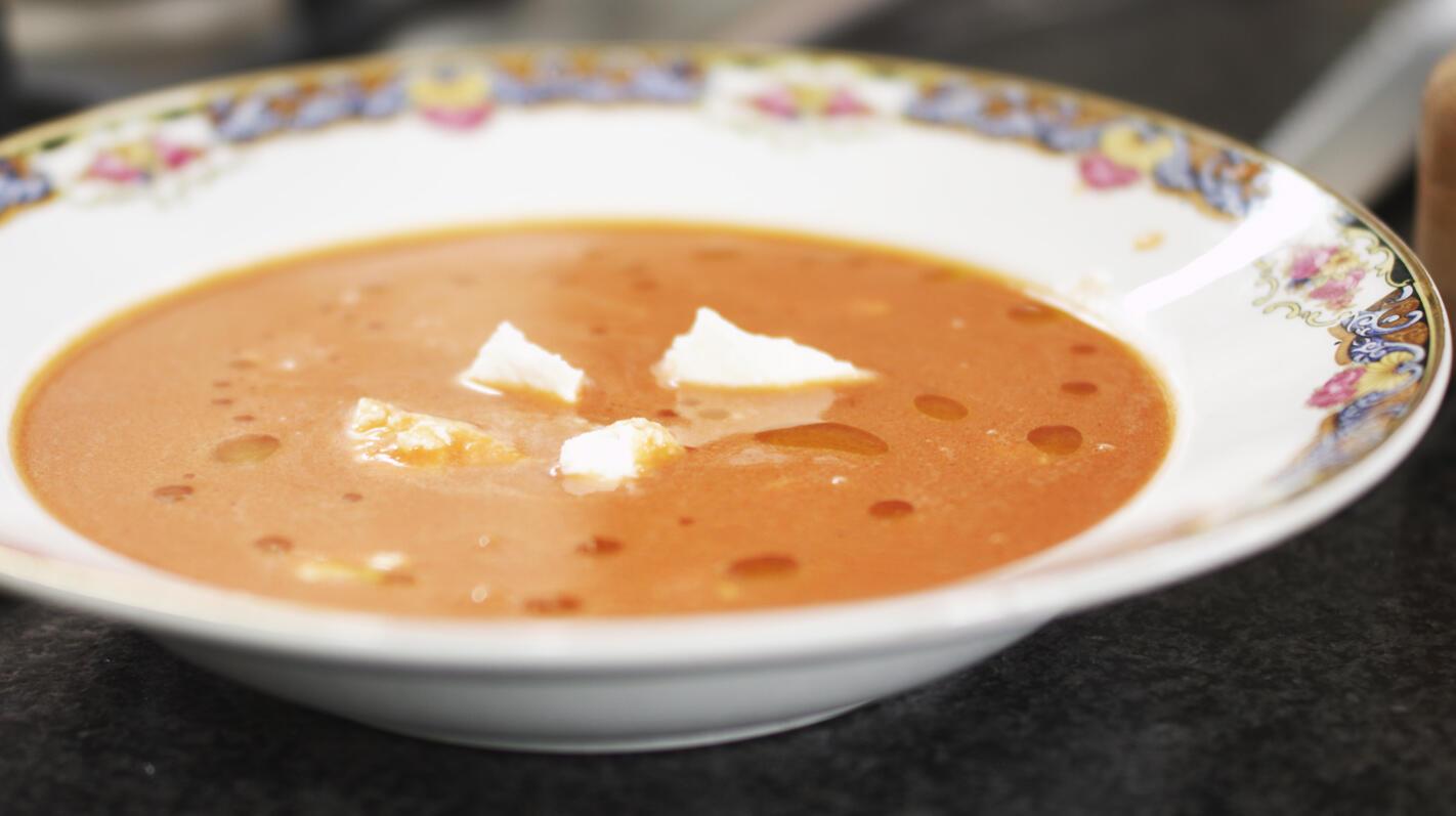 Gazpacho van tomaat en watermeloen