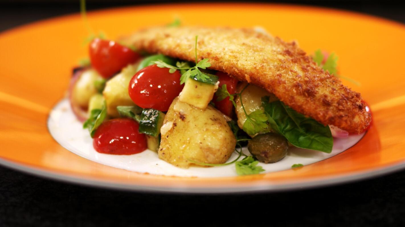 Pladijsfilets met aardappelsalade