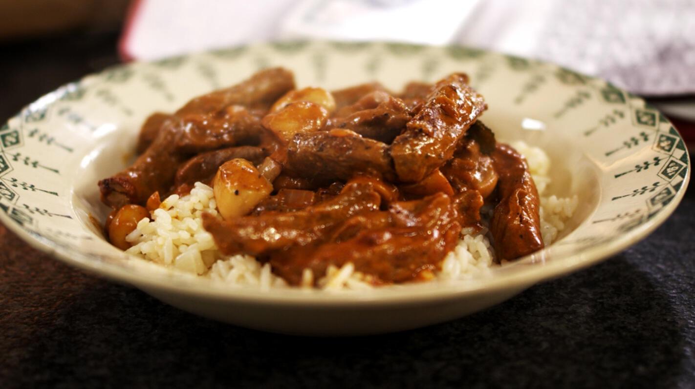 Rundvlees Stroganoff met rijst