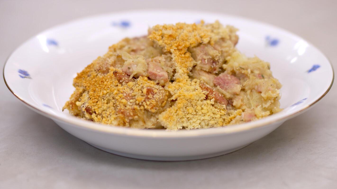 Stoemp met witloof, ham en kaas