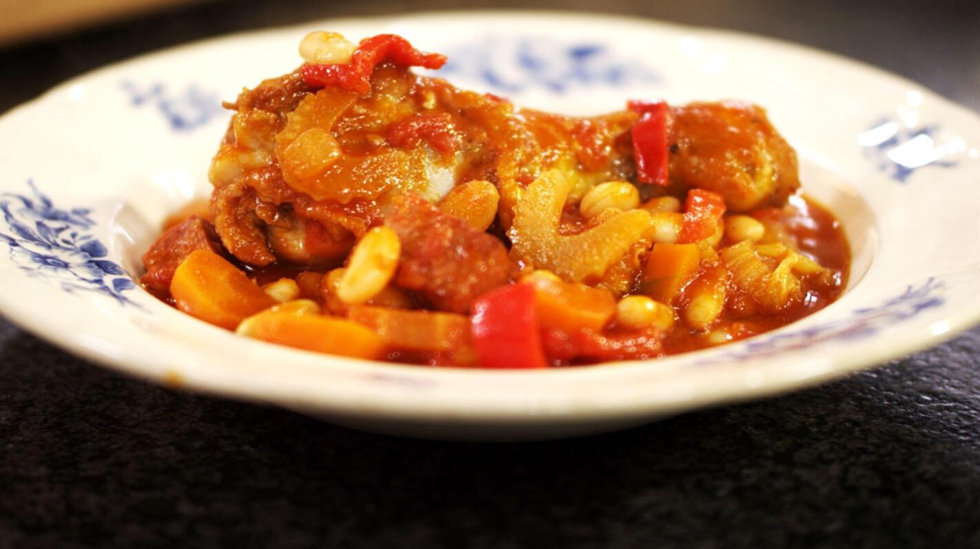 Cassoulet van kip met chorizo