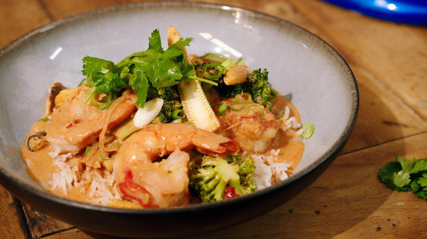 Oosterse scampi met witte rijst