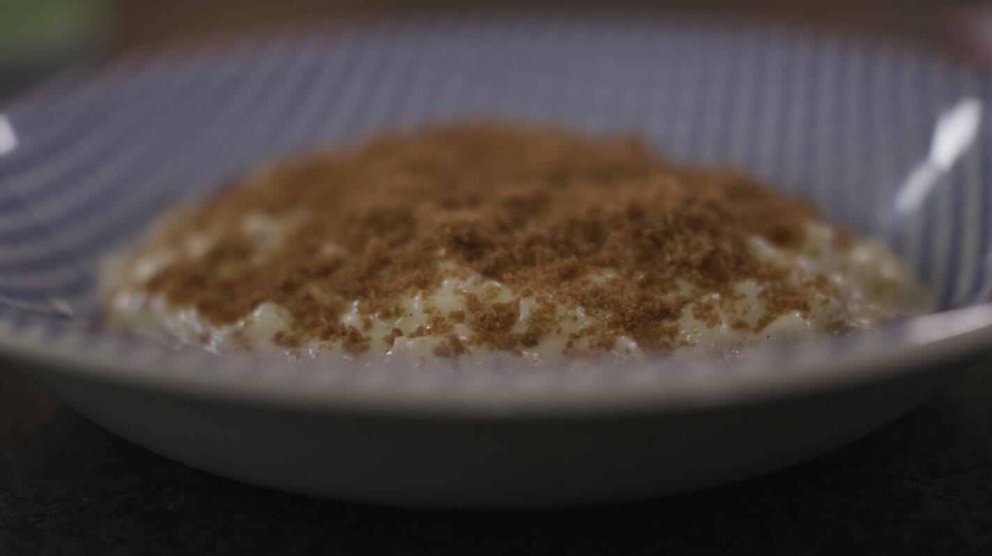 Rijstpap met kokosmelk en speculaas