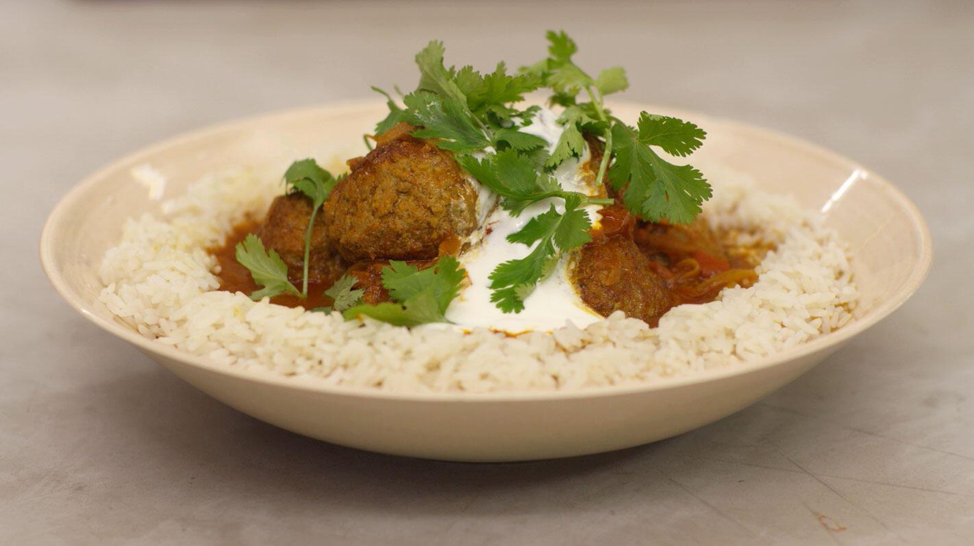 Indische gehaktballen met rijst