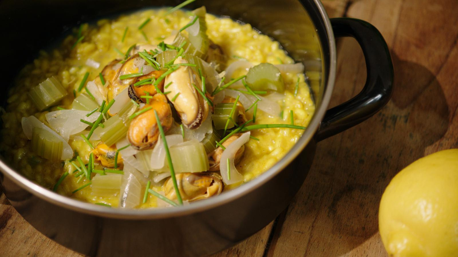 Curryrisotto met mosselen