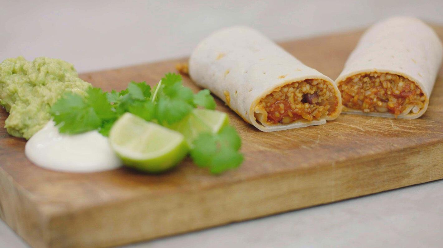 Veggie burrito met quorn