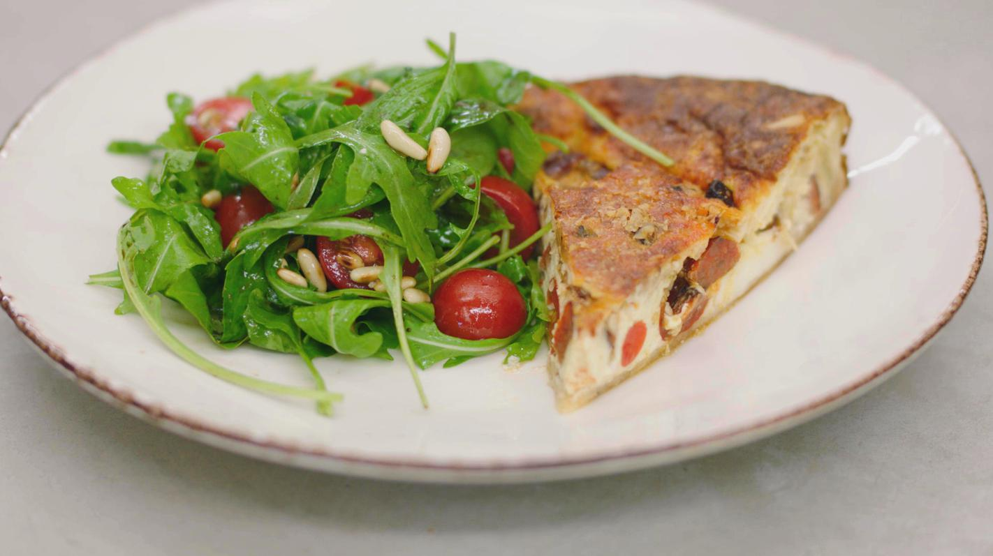 Quiche 'margherita' met chorizo