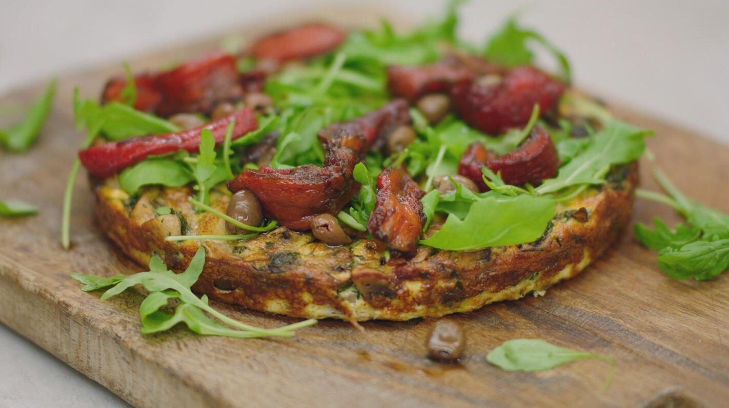 Tortilla met champignons en gemarineerde paprika