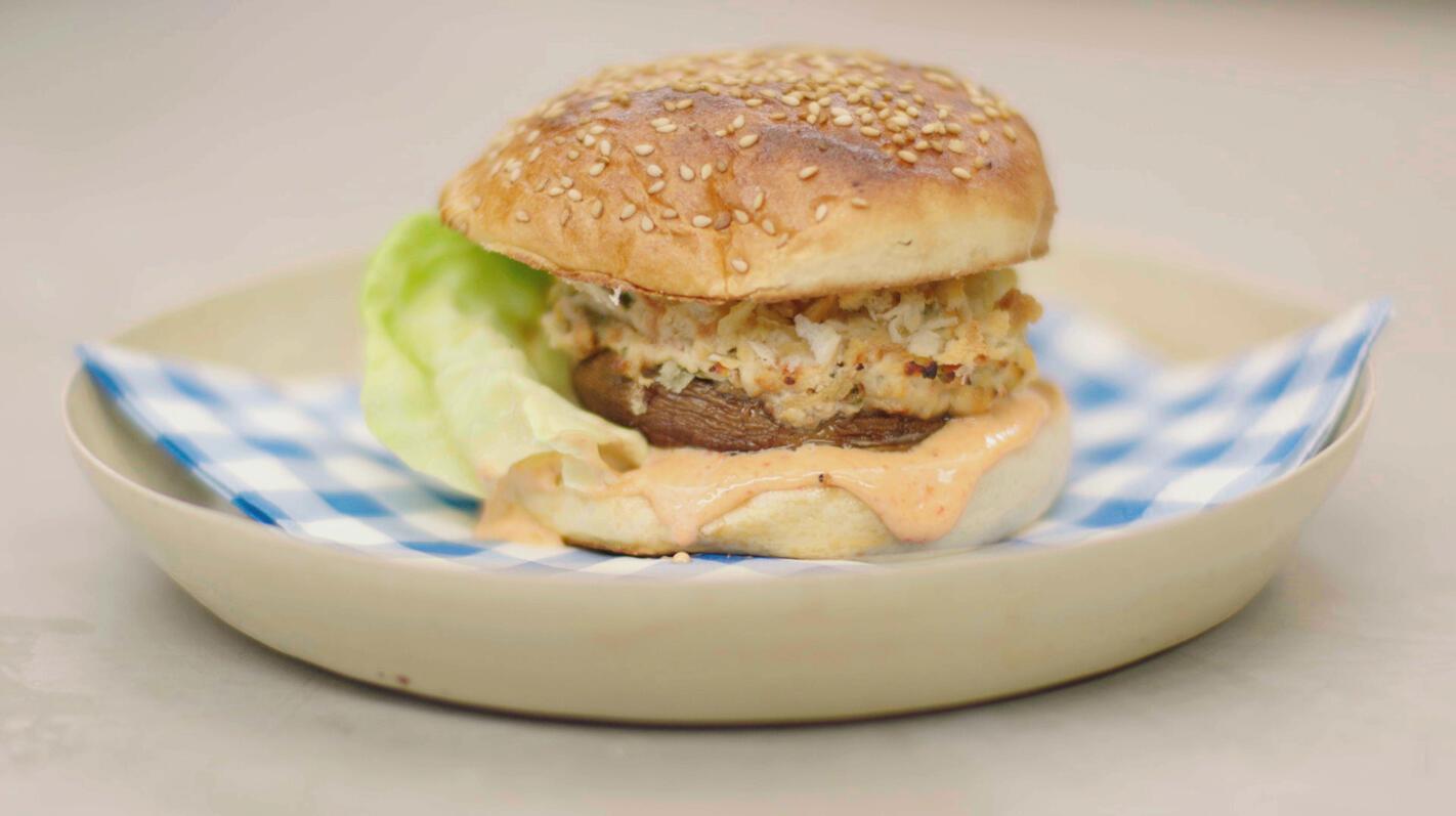 Portobelloburgers met paprikamayonaise