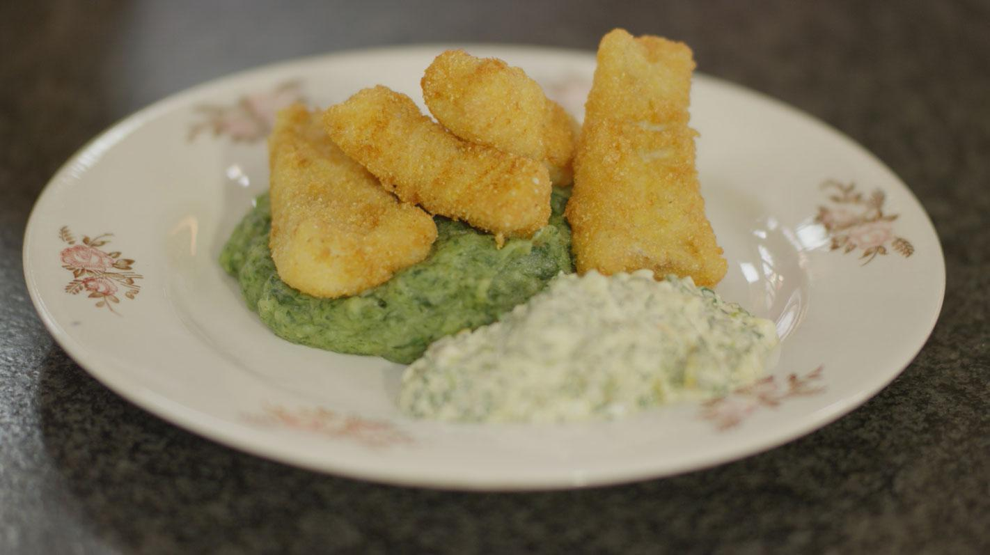 Fish sticks met tartaarsaus en spinaziepuree