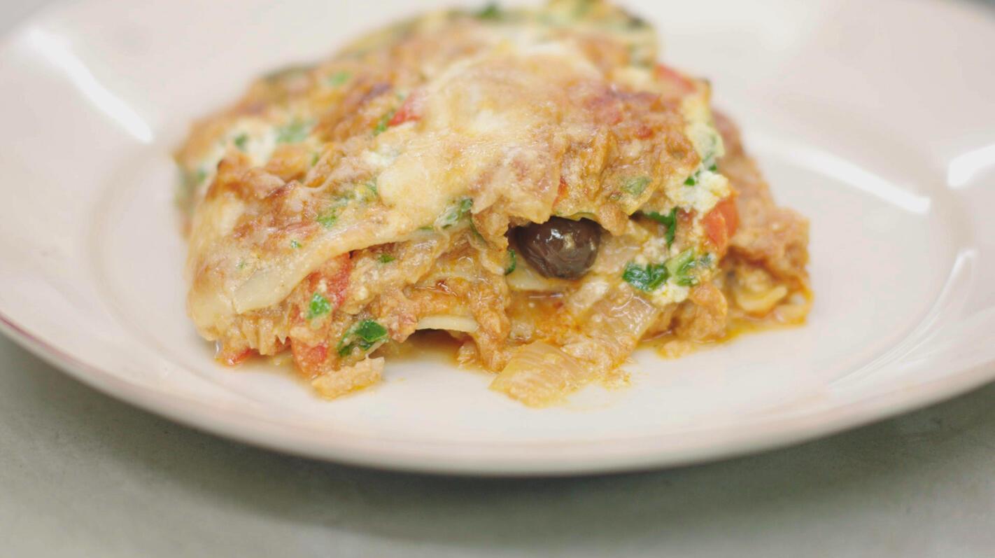 Lasagne met tonijn, paprika en olijven