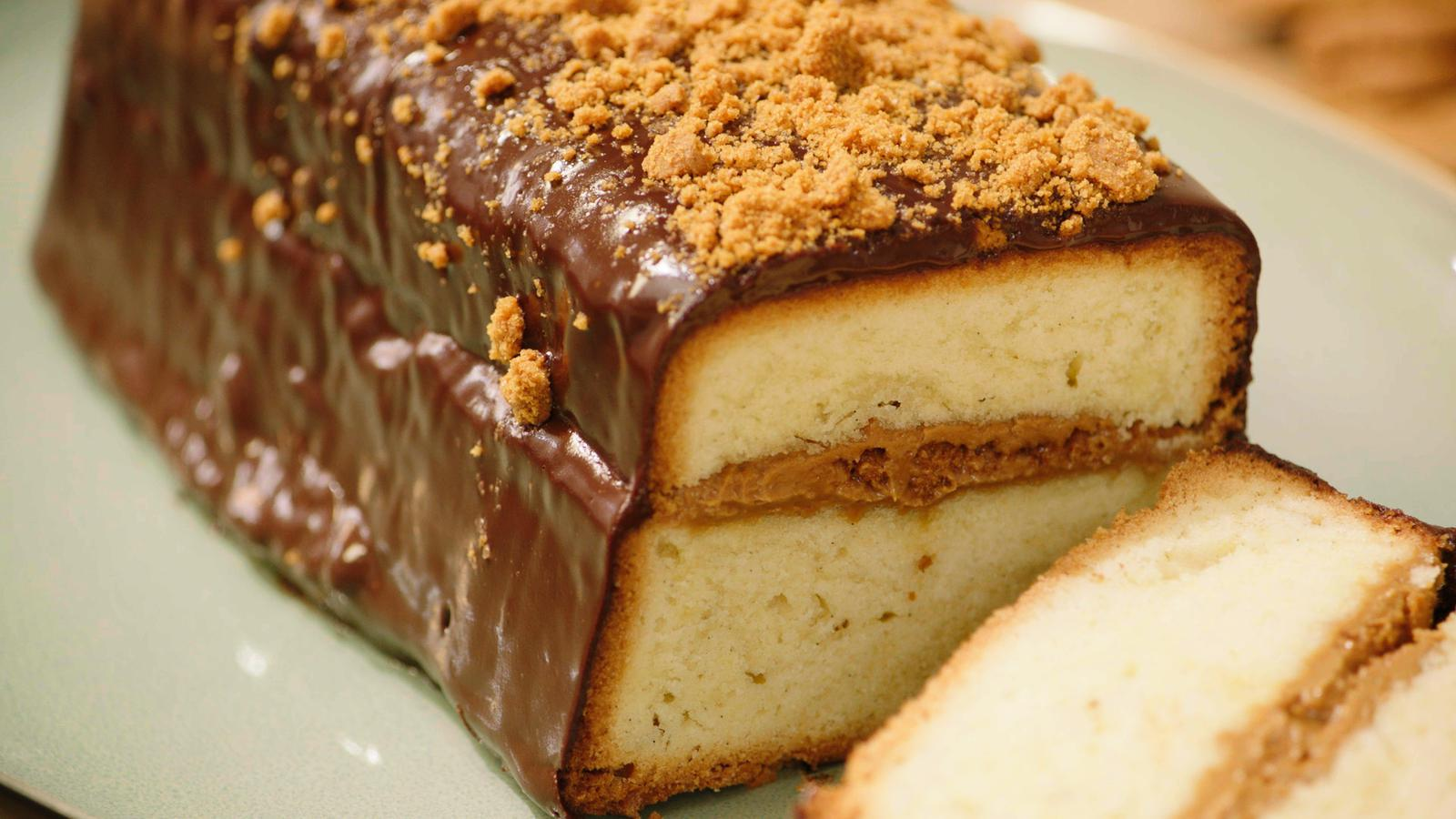 4/4 cake gevuld met speculaas en een ganache van chocolade