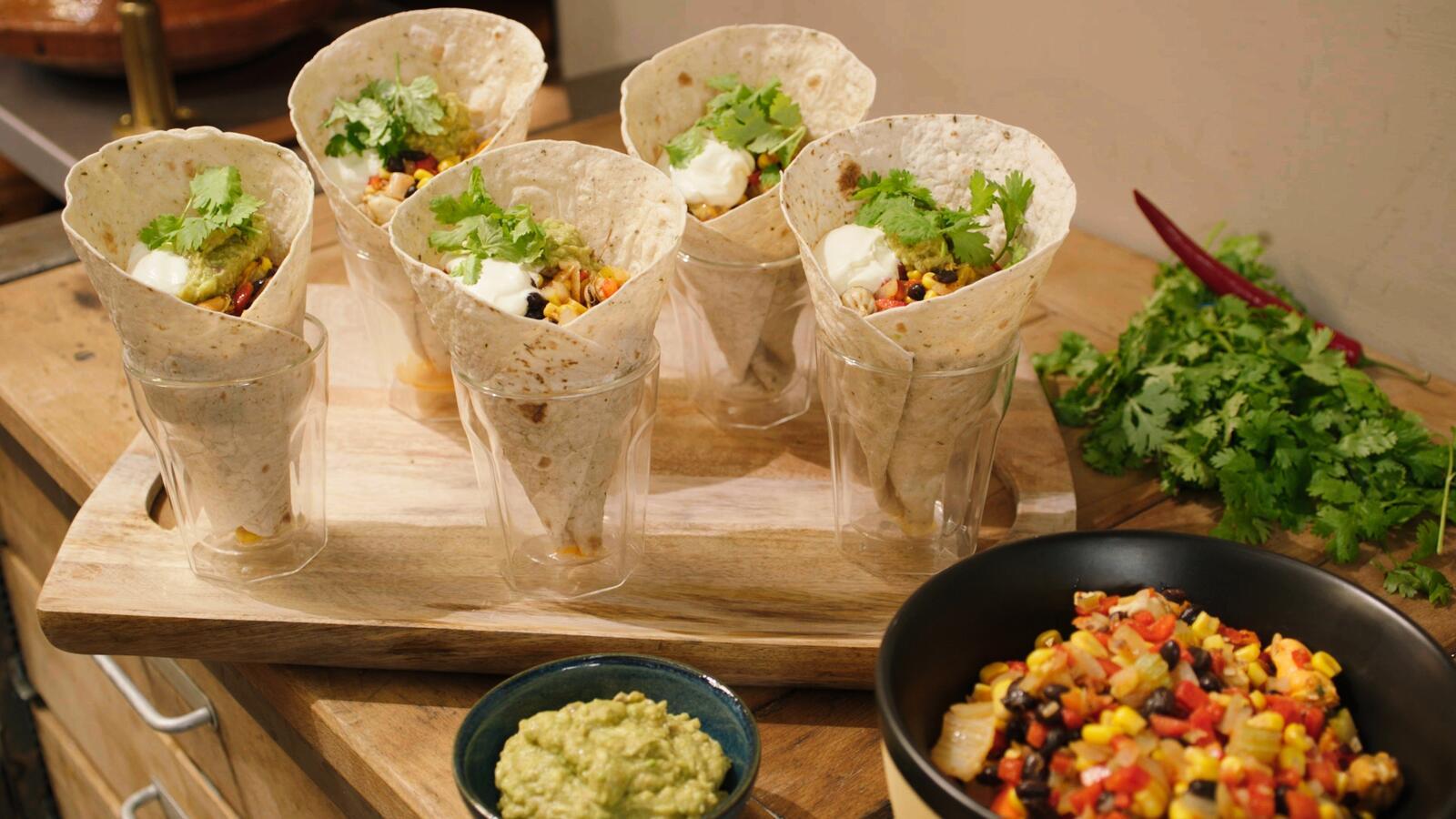 Een Mexicaanse salade met mosselen, uit het vuistje