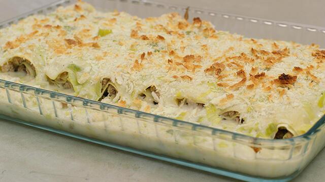 Gerolde cannelloni met lamsgehakt en kaas-preisaus