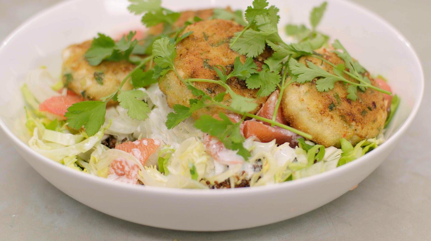 Visburgers met venkel, andijvie en quinoa