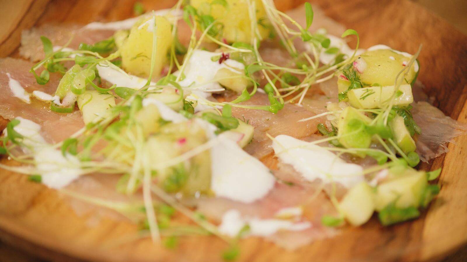 Gravad forel met aardappelsalade