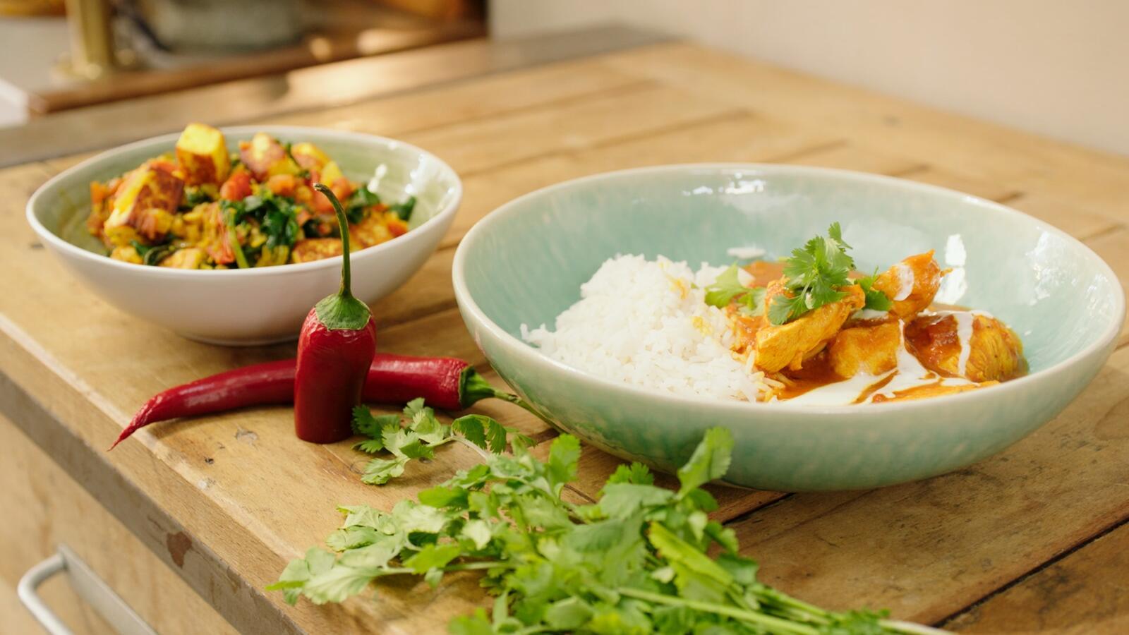 Madras curry met kip en saag paneer