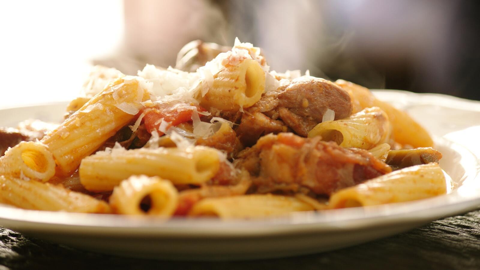 Stoofpot met kip en pasta