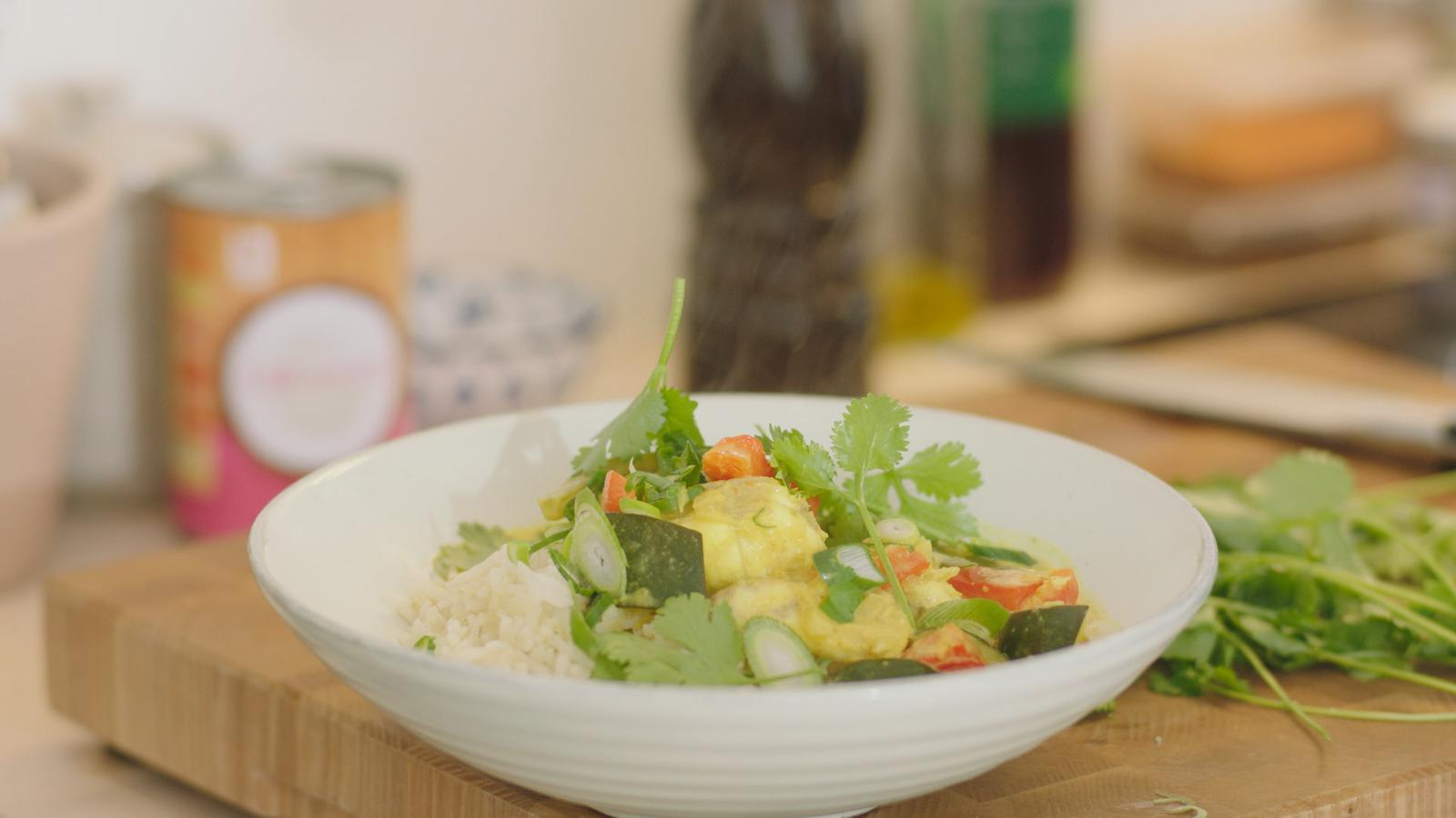Viscurry van zeeduivel met rijst