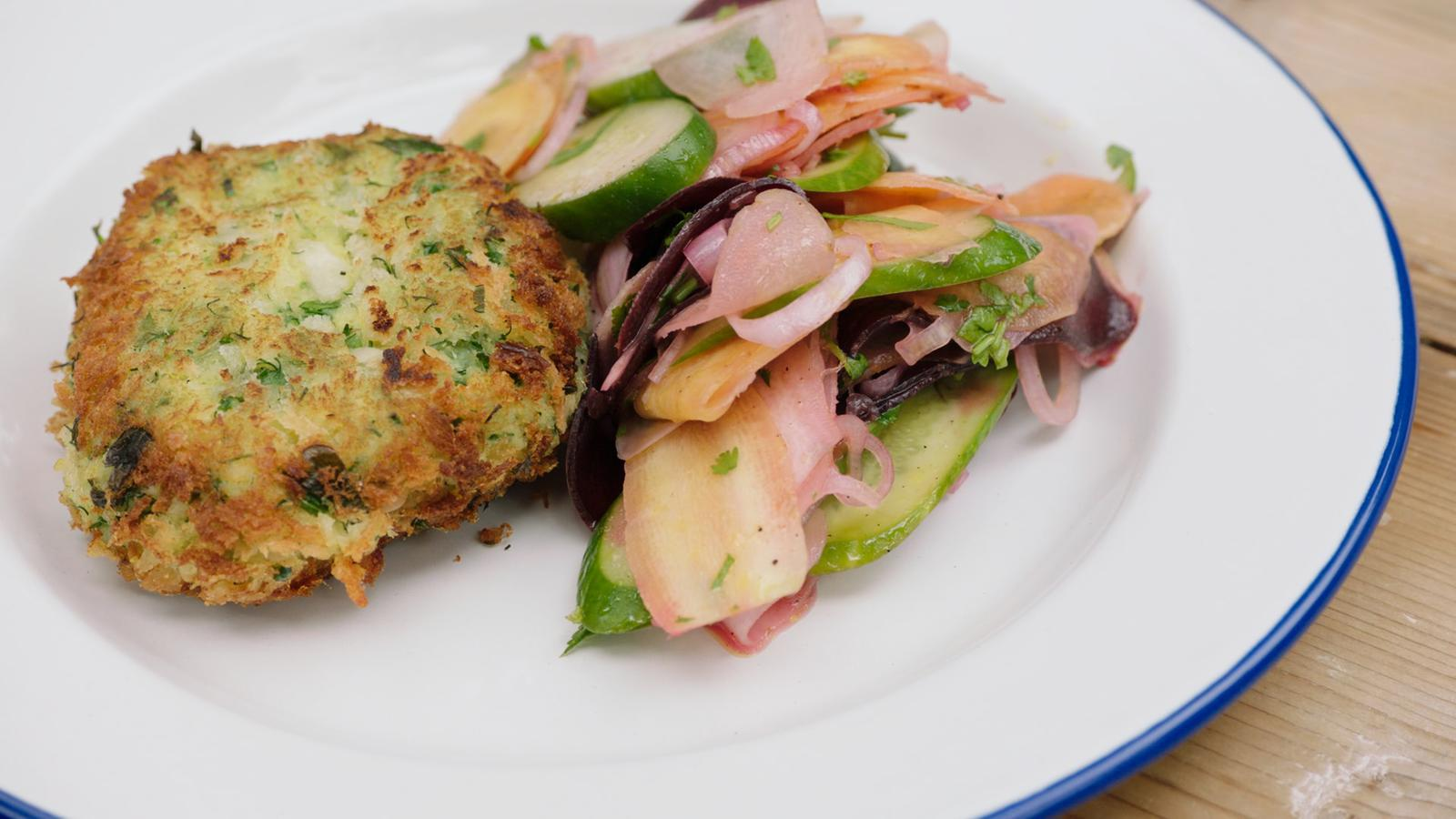 Fishcake met wortelsalade