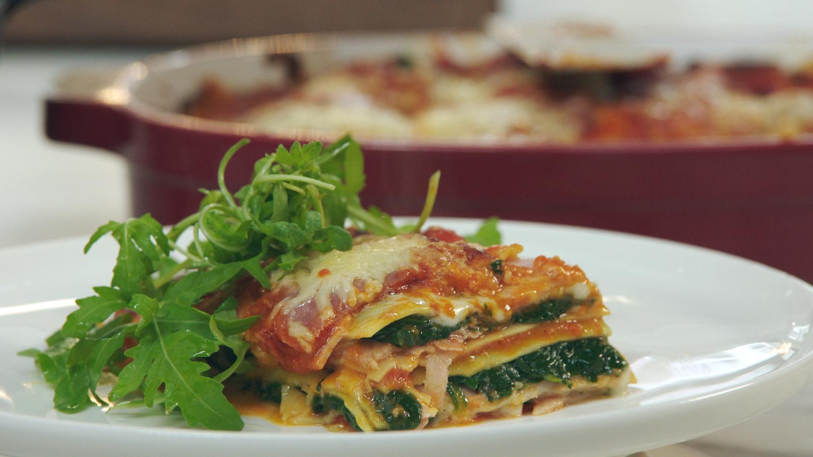 Lasagne met ham en spinazie