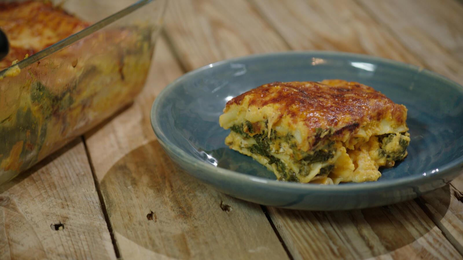 Lasagne met boerenkool, pompoen en kip