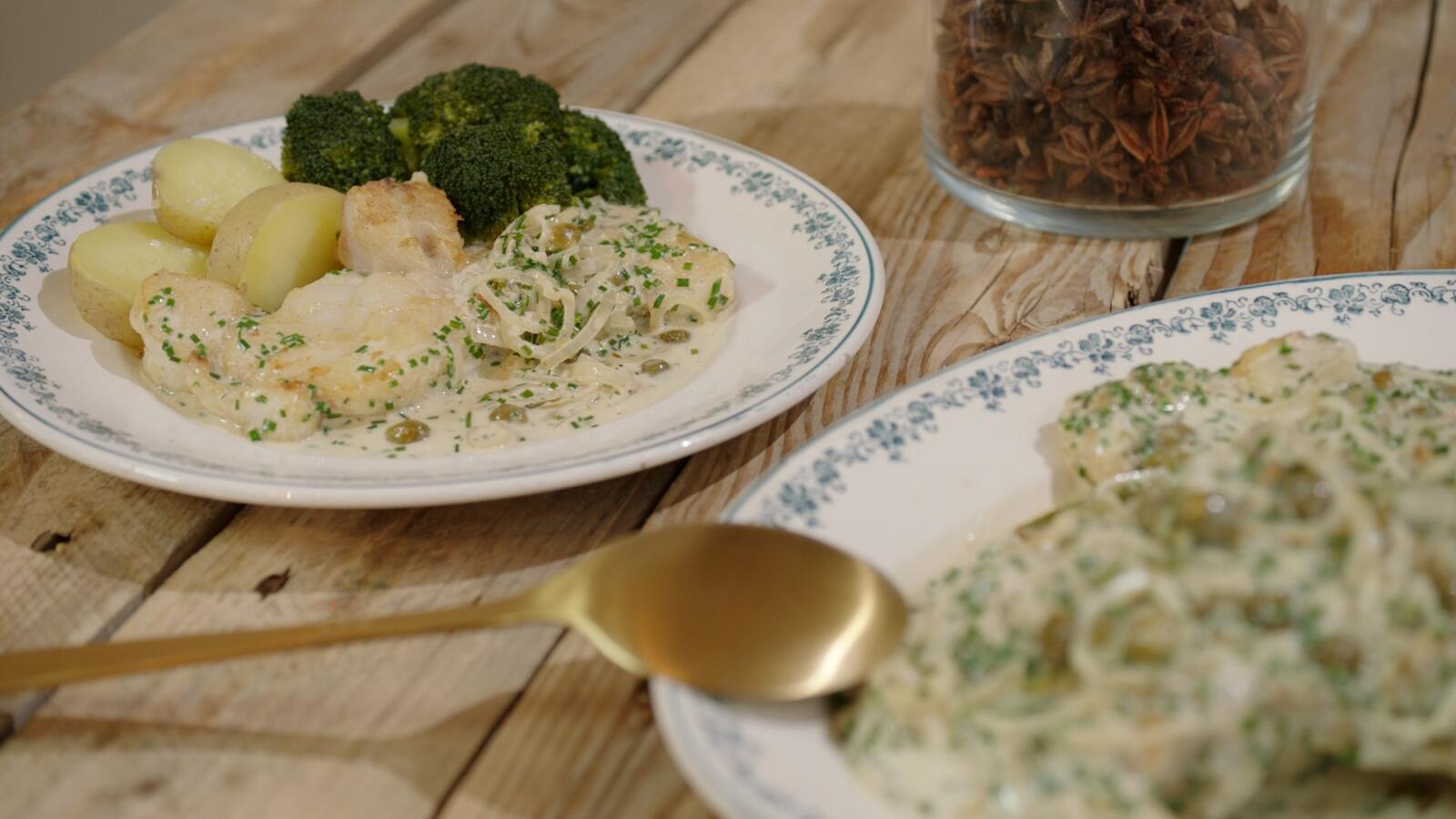 Zeeduivel met wittewijnsaus en aardappelen