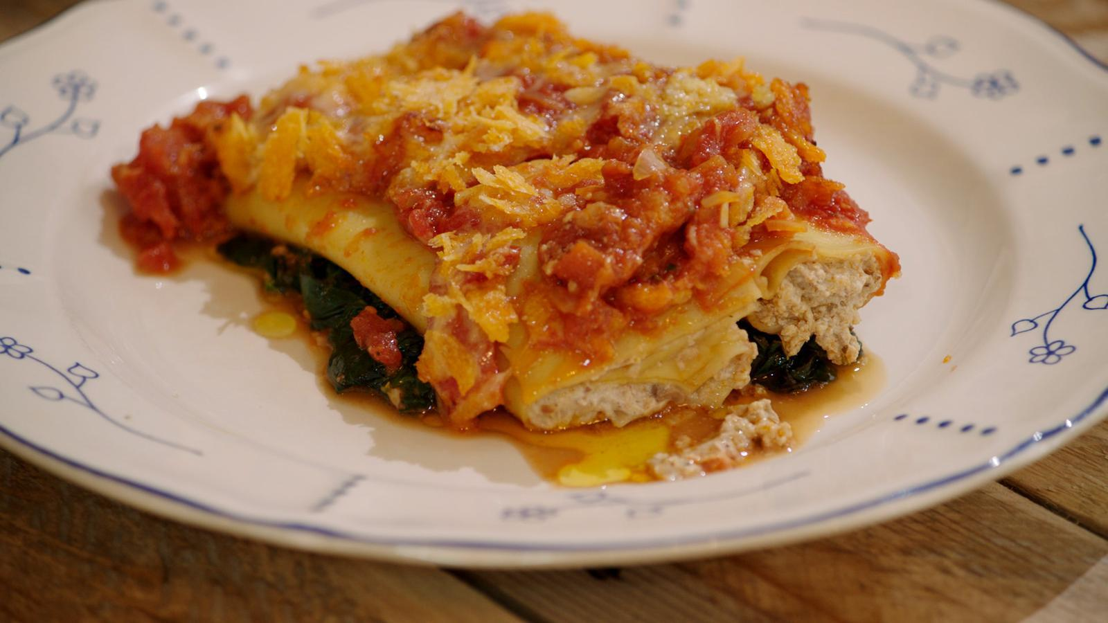Cannelloni met champignons, spinazie en tomaat