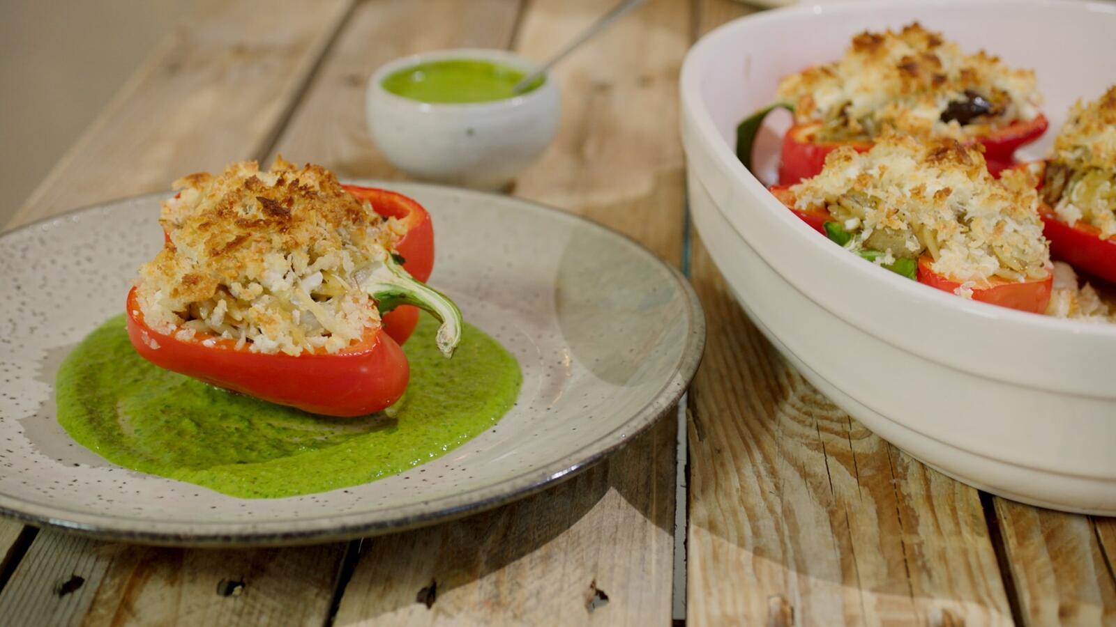 Paprika's gevuld met Griekse rijst en feta