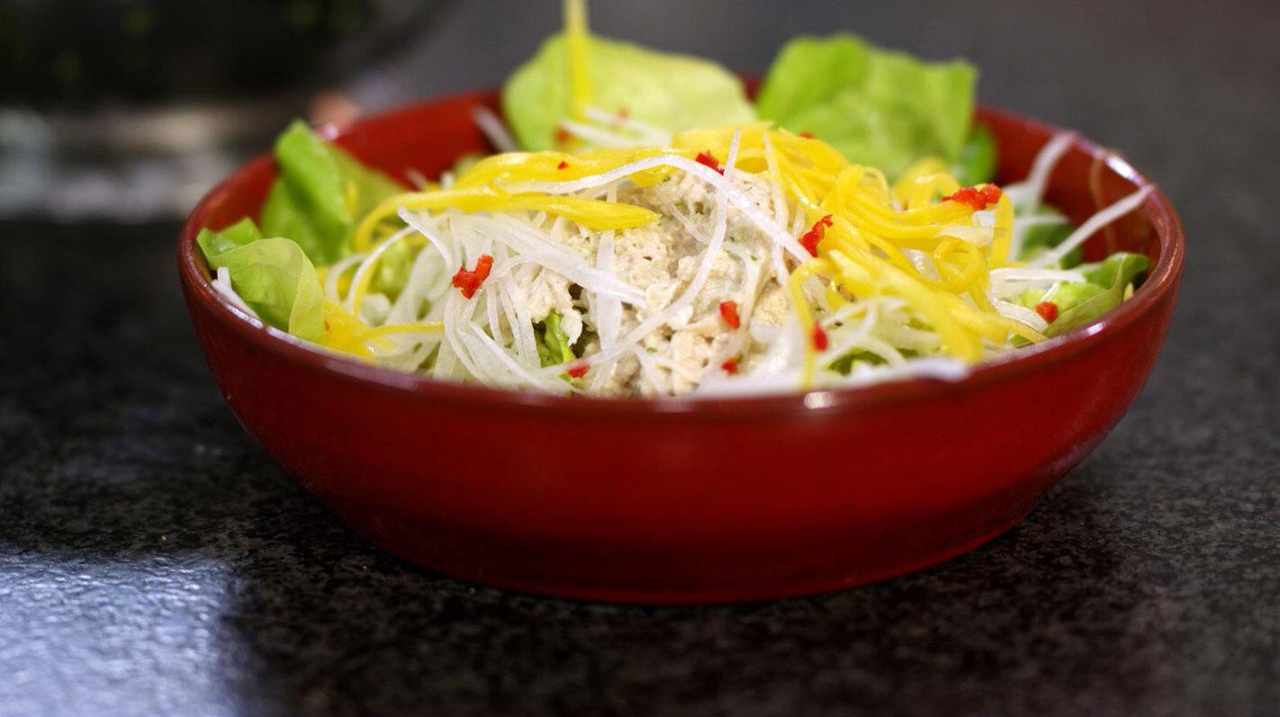 Krabsalade met mango, limoen en wasabimayonaise