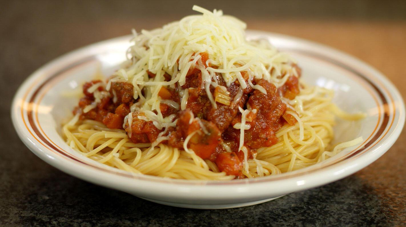 Spaghetti bolognaise voor op kamp