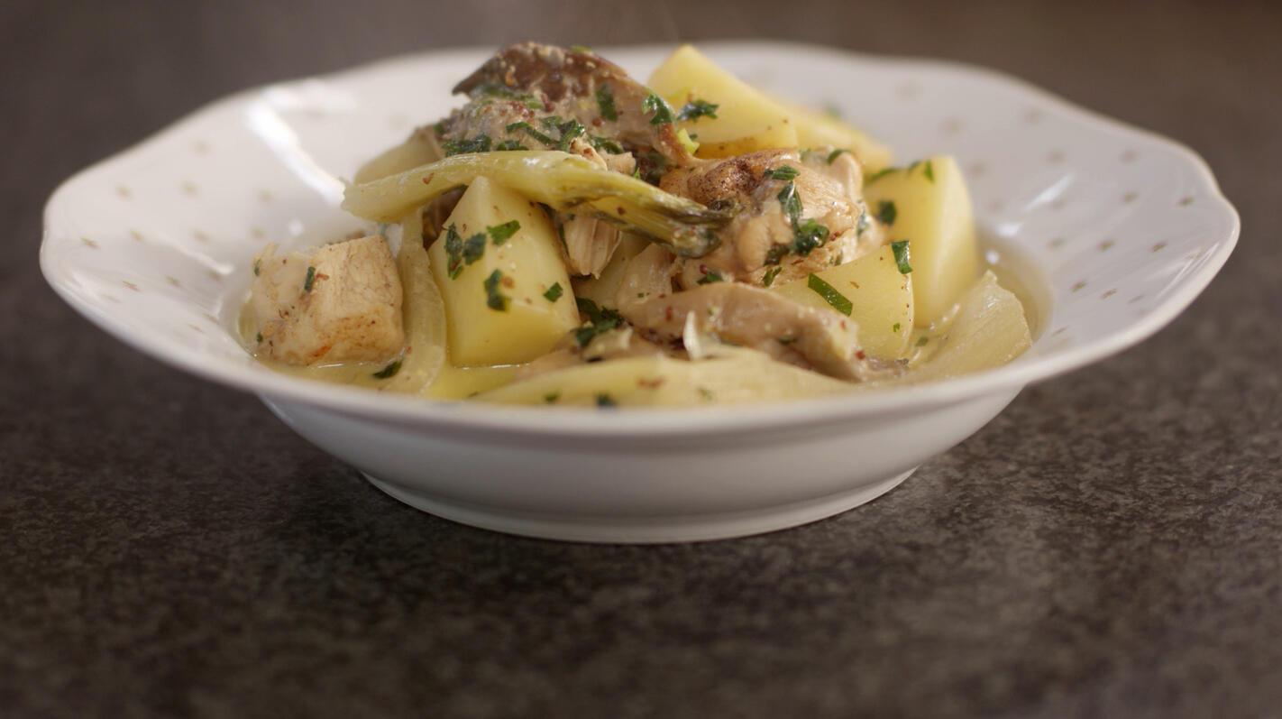 Kipfilet met aardappelen, oesterzwammen en venkel