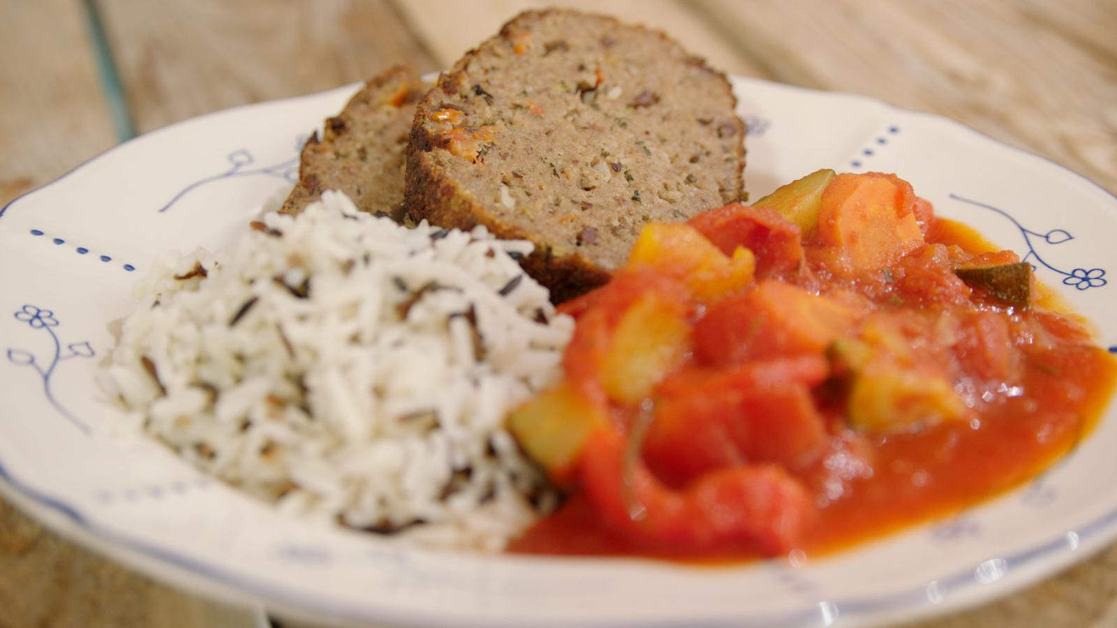 Gehaktbrood 'Provençale' met rijst