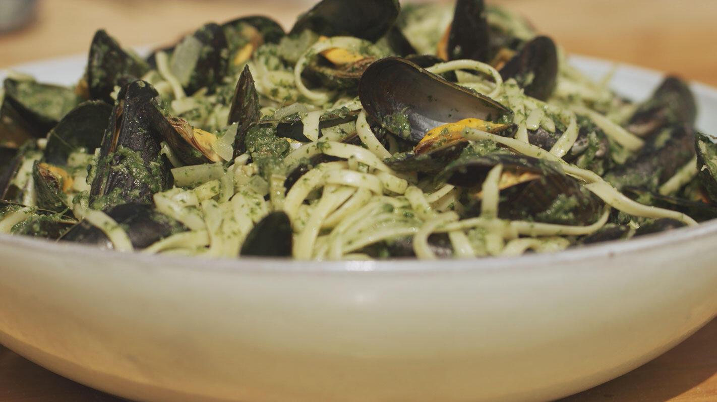 Mosselen in 't groen met pasta