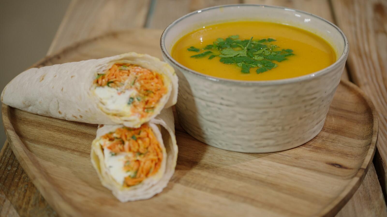 Wortelsoep met tijm & wrap met wortel en geitenkaas