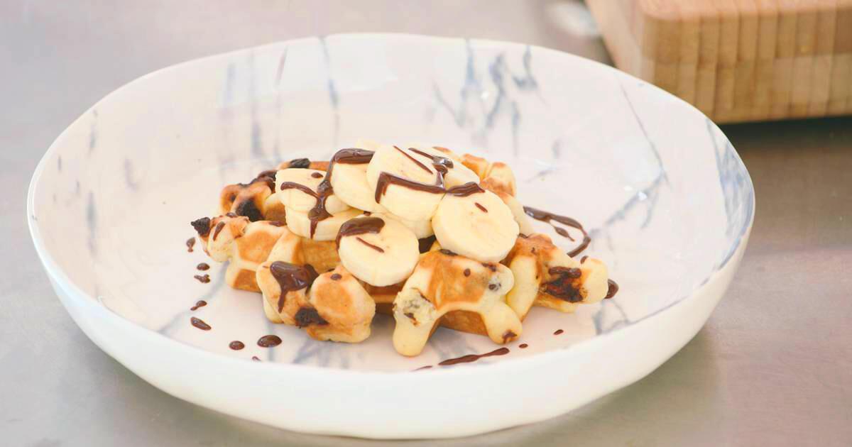 Chocoladewafeltjes met banaan