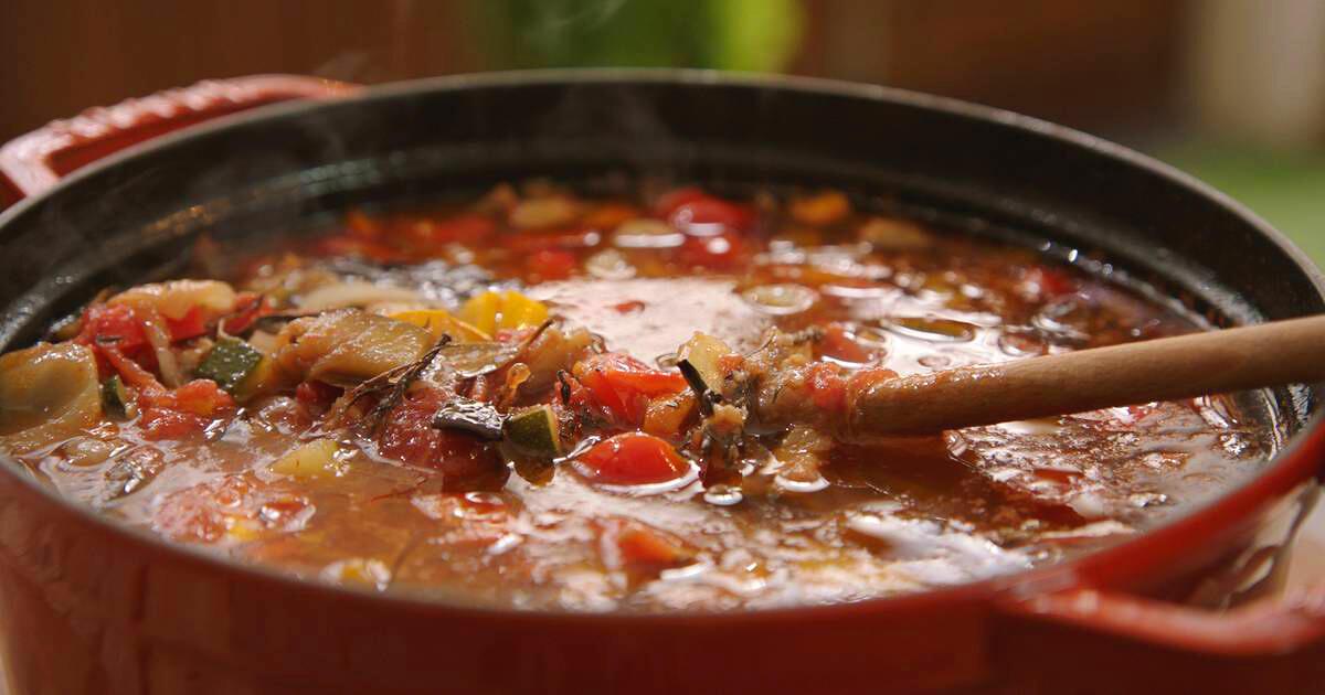 Geroosterde groentesoep met spek
