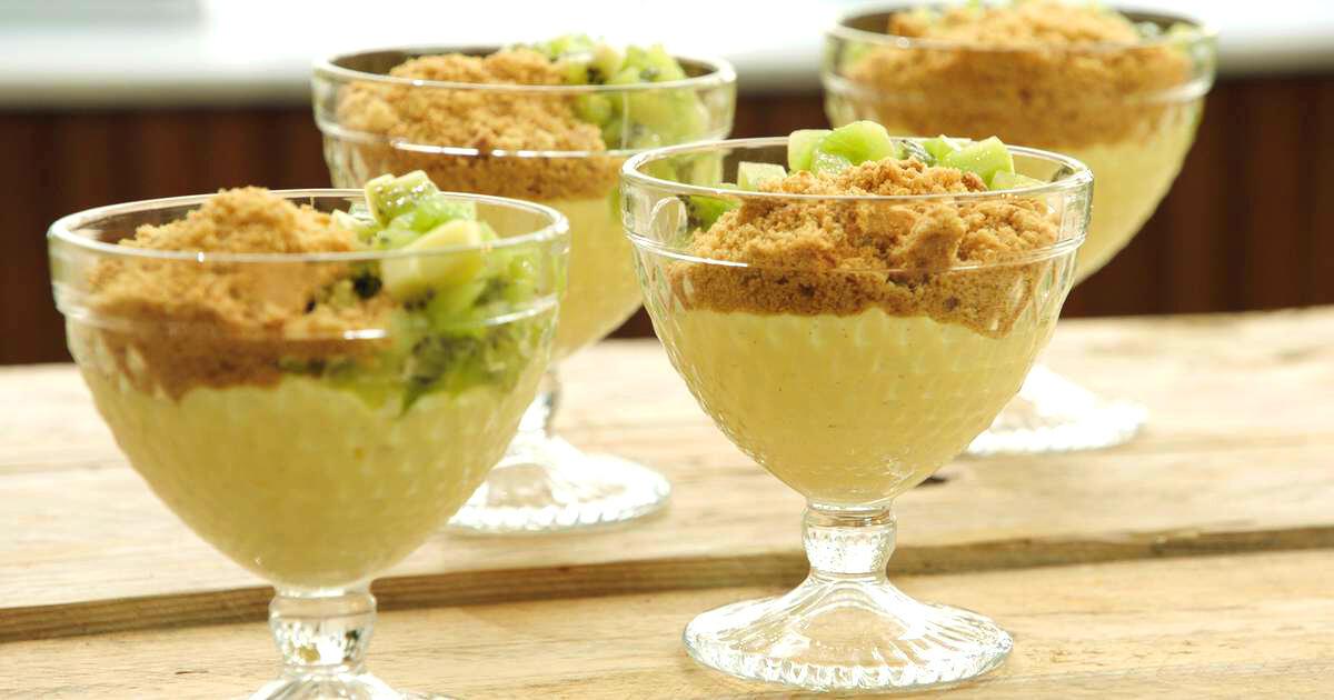 Pudding met limoen en tartaar van kiwi