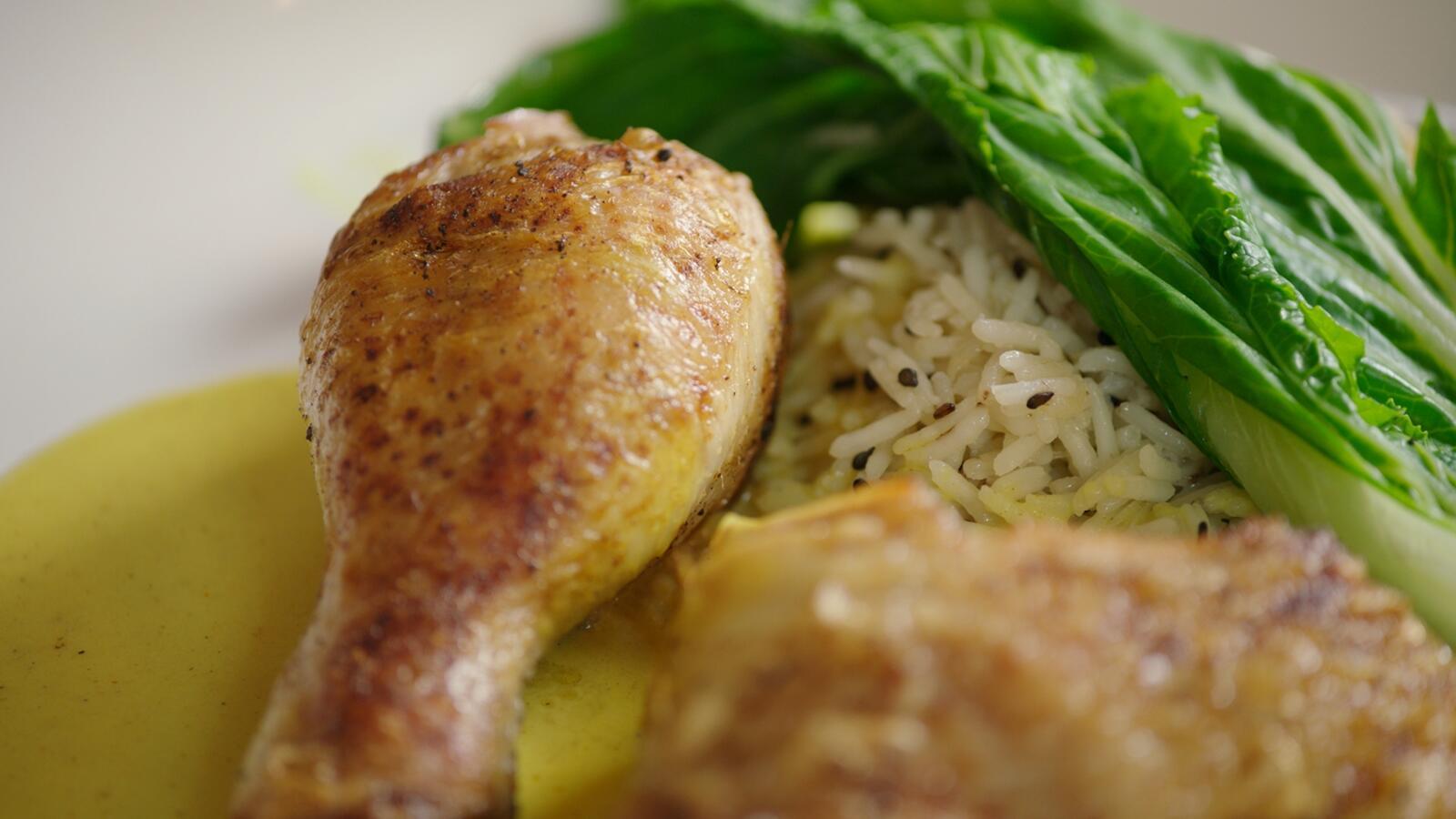 Kip in currysaus met rijst